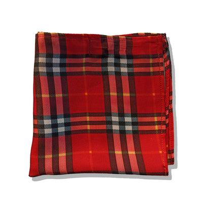 RED & BLACK PLAIDS SILK POCKET SQUARE