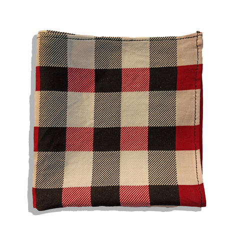 RED & BLACK PLAID POCKET SQUARE