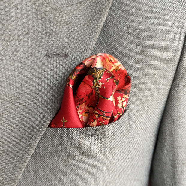 RED GARDEN SILK POCKET SQUARE