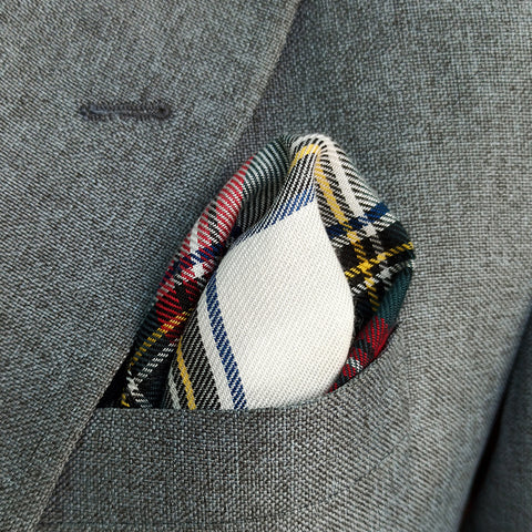 RED PLAIDS CASHMERE POCKET SQUARE