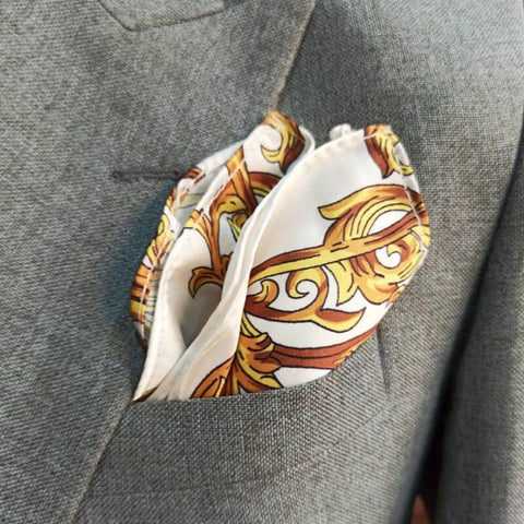 ROYAL WHITE & GOLD SILK POCKET SQUARE-1
