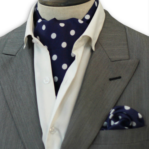 ROYAL BLUE & WHITE POLKA DOT SILK CRAVAT SET