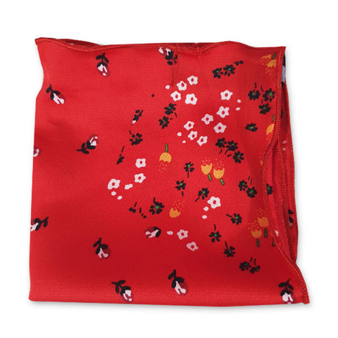 Red Bloom Pocket Square