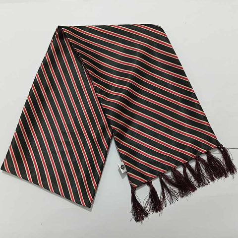 Red and Black Striped Silk Scarf