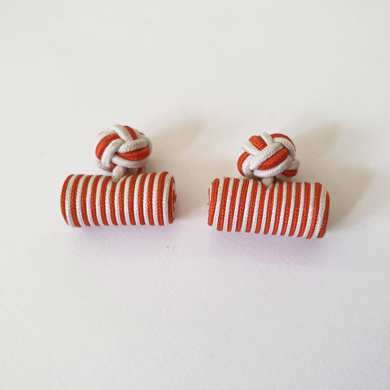 Red and White Stripes Fabric Cufflinks