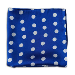 Royal Blue with White Polka Dots Silk Pocket Square
