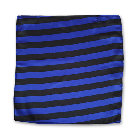 Royal Blue & Black Stripes Pocket Square