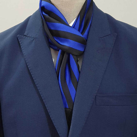 Royal Blue & Black Stripes Scarf