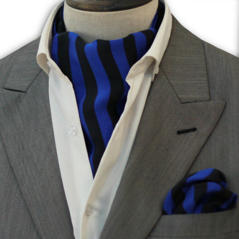 Royal Blue & Black Stripes Silk Cravat Set