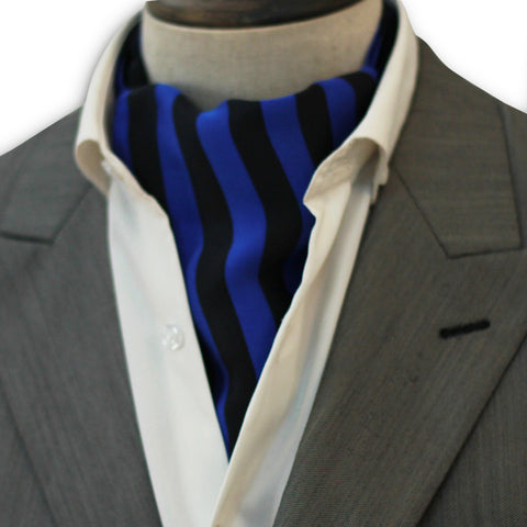 Royal Blue & Black Stripes Silk Cravat