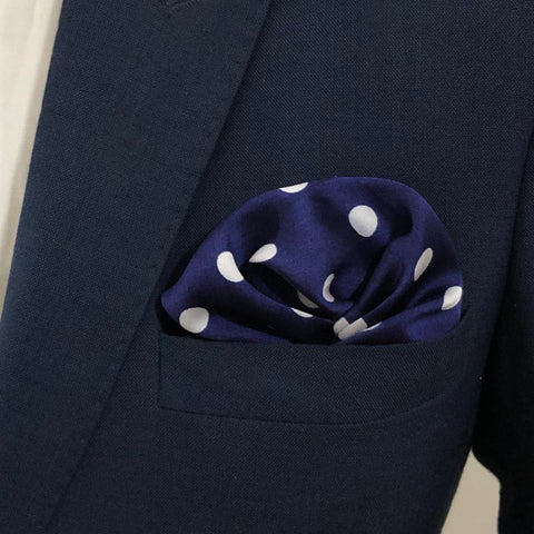 Royal Blue & White Polka Dot Silk Pocket Square