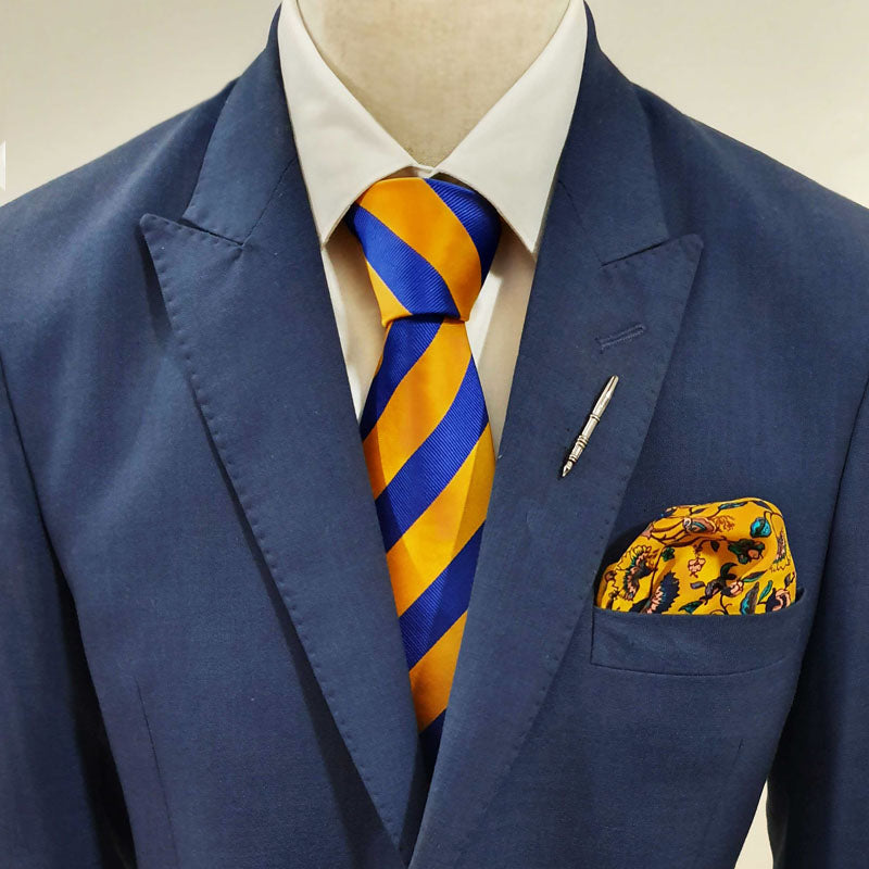 Royal Blue & Yellow Stripes Tie Set