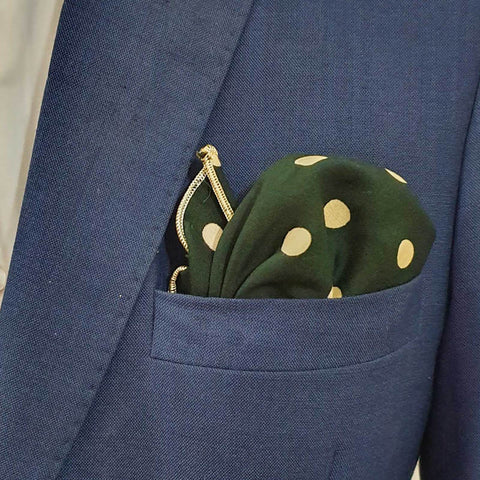 Royal Green Polka Dot Pocket Square