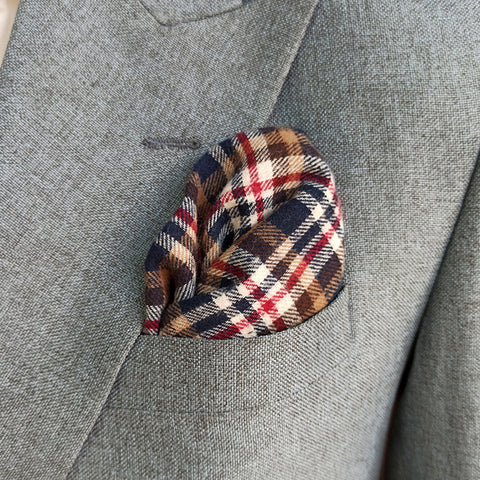 SCOTTISH PLAIDS WOOL POCKET SQUARE