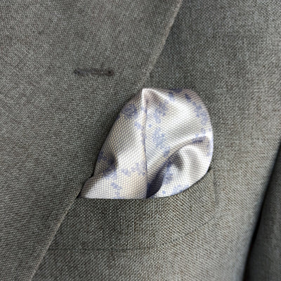 SILVER TEXTURED SILK POCKET SQUARE