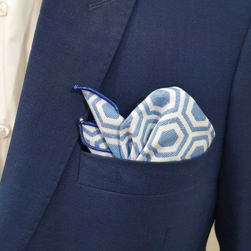 Sky Blue Prism Pocket Square
