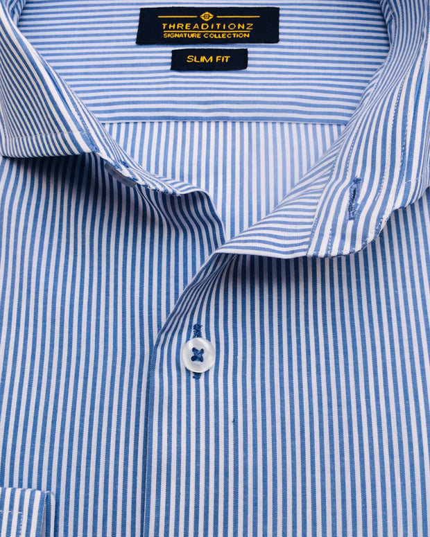 Sky Blue & White Lining Cotton Shirt