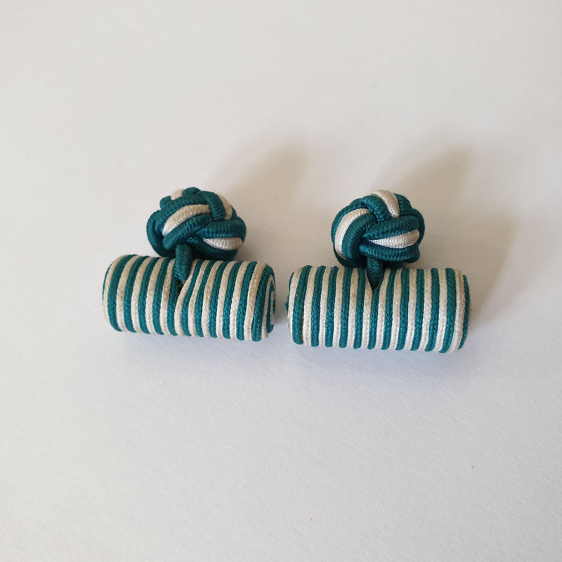 Teal and White Stripes Fabric Cufflinks