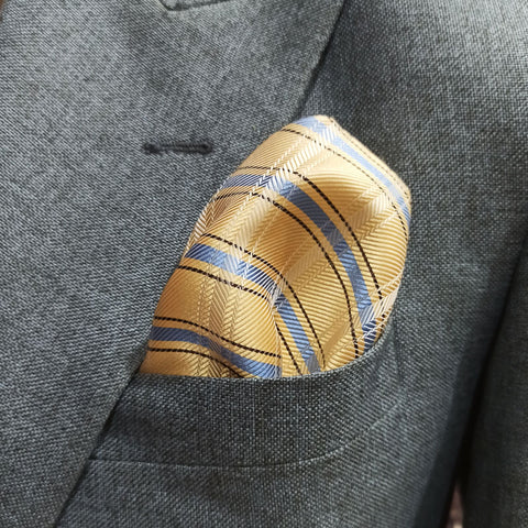 The Golden Herringbone Pocket Square