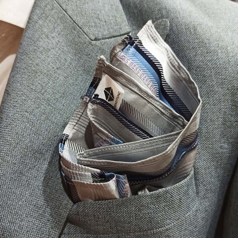 The Silver Stripes Pocket Square