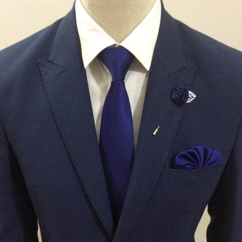 The Solid Blue Neck Tie Set