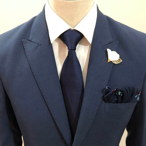 The Solid Dark Blue Neck Tie Set