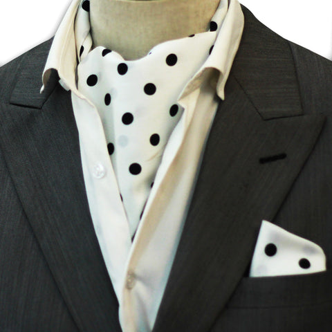 WHITE N BLACK POLKA DOTS SILK CRAVAT SET