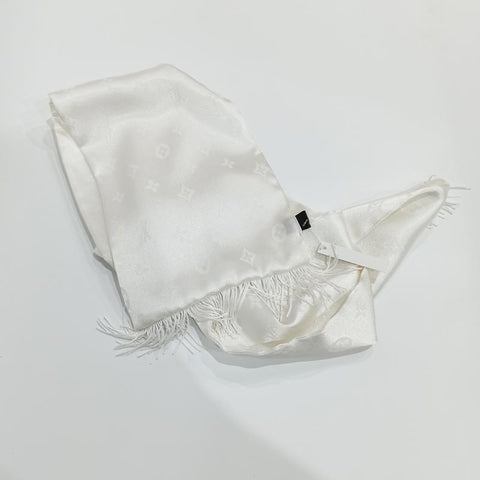 White LV Silk Scarf