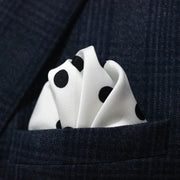 White n Black Polka Dots Silk Pocket Square
