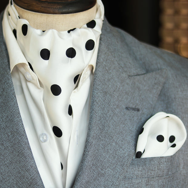 White Black Polka Dot Silk Cravat SET