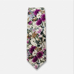White & Pink Floral Neck Tie