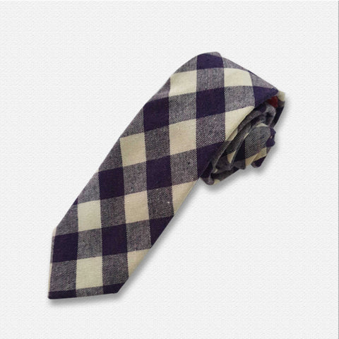 White & Purple Boxed Neck Tie