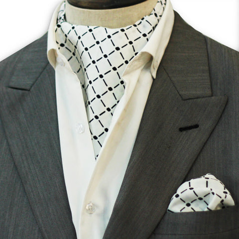 White Royal Silk Cravat Set