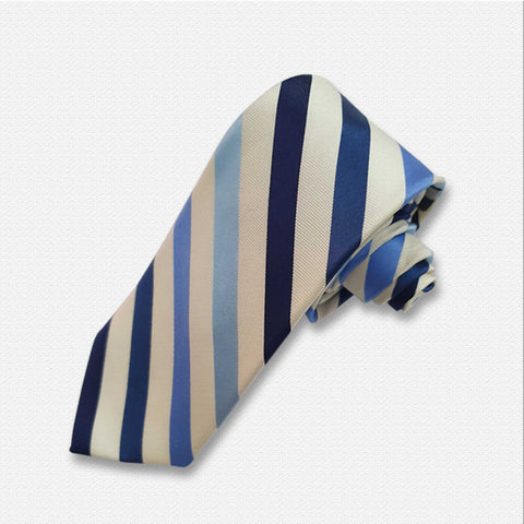 White & Shades of Blue Neck Tie