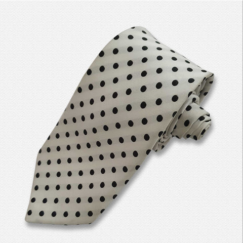 White with Black Polka Dot Neck Tie