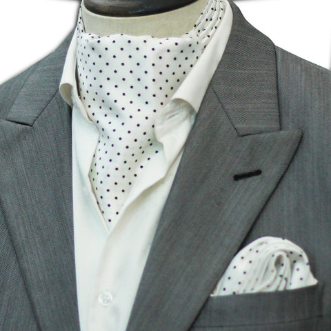 White with Black Polka Dots Cravat Set