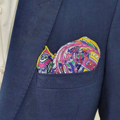 Yelllow Peacock Pocket Square
