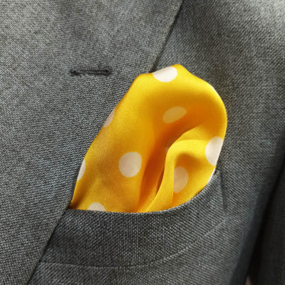 Yellow with White Polka Dots Silk Pocket Square
