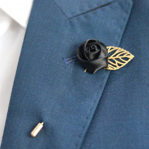 Black Gold Leaf Lapel Flower