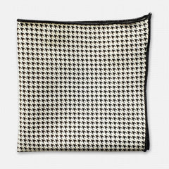 Black Houndstooth Cotton Pocket Square