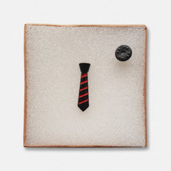 Black Metallic Neck Tie Lapel Pin