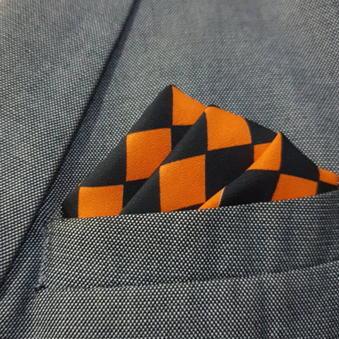 Black & Orange Boxed Pocket Square
