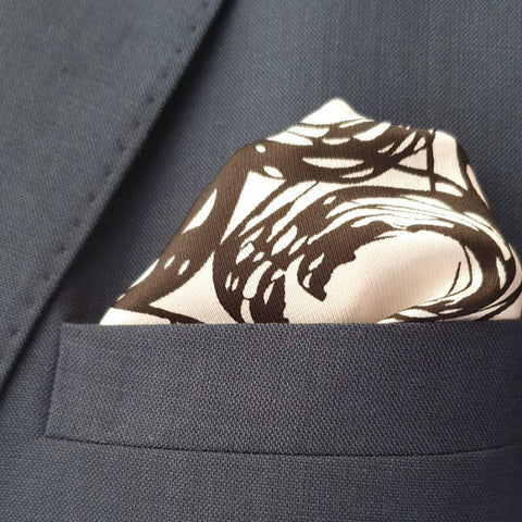 Black Spiral Pocket Square