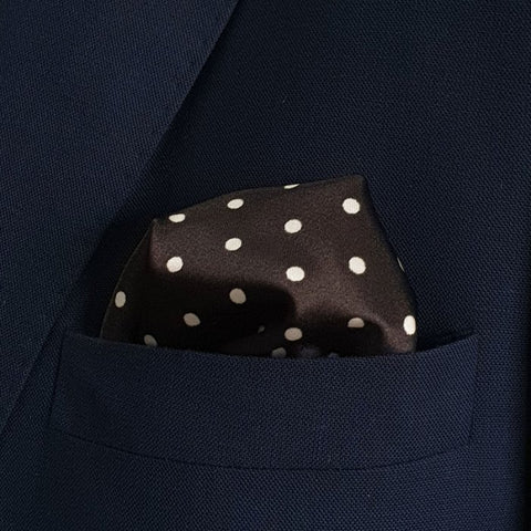 Black with White Polka Dot Silk Pocket Square