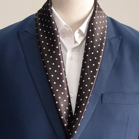 Black with White Polka Dot Silk Scarf