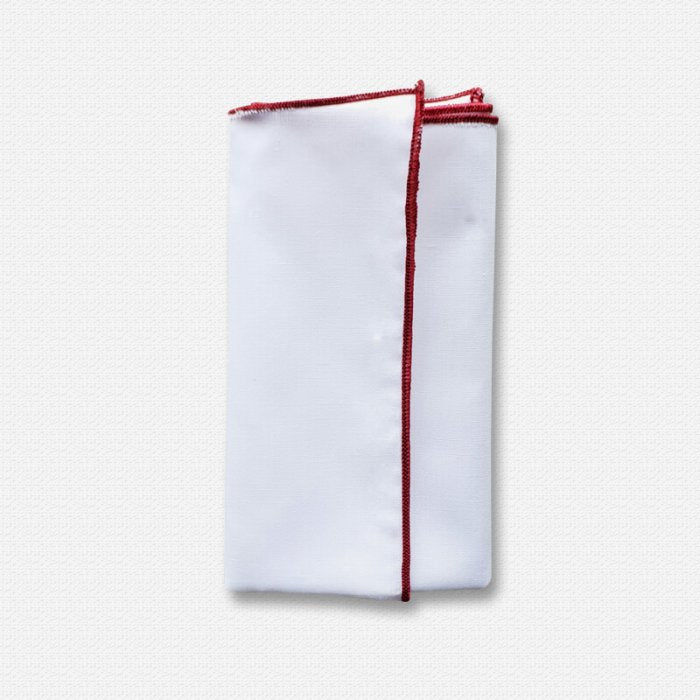Blood Red Edged White Cotton Pocket Square
