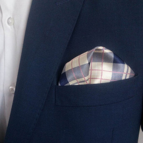 Blue Burberry Print Silk Pocket Square