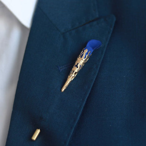 Blue Rose Bud Lapel Pin
