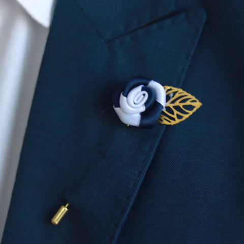 Blue & Silver Gold Leaf Lapel Pin