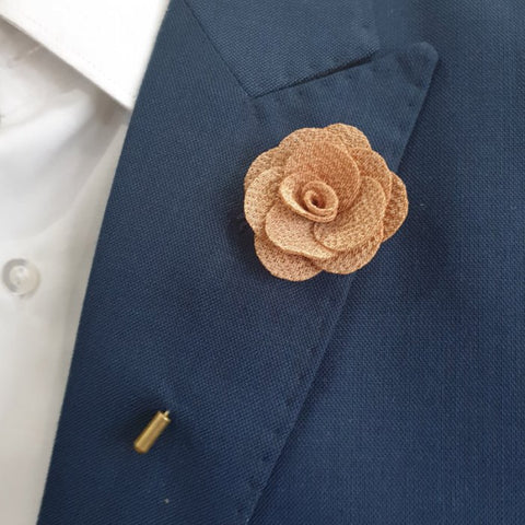 Brew Brown Flower Lapel Pin